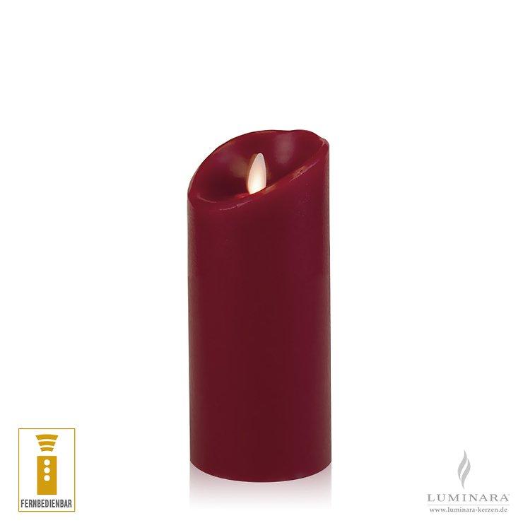 Luminara LED Kerze Echtwachs 8x17 cm bordeaux fernbedienbar glatt AKTION - Pic 1