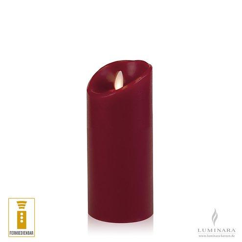 Luminara LED Kerze Echtwachs 8x17 cm bordeaux fernbedienbar glatt AKTION