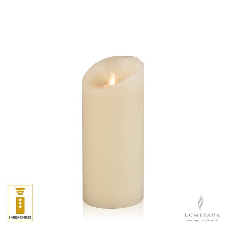 Luminara LED Kerze Echtwachs 8x17 cm elfenbein fernbedienbar glatt NEU - Pic 1