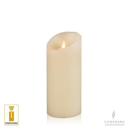 Luminara LED Kerze Echtwachs 8x17 cm elfenbein fernbedienbar glatt NEU