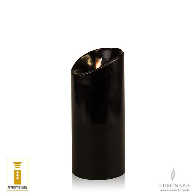 Luminara LED Kerze Echtwachs 8x17 cm schwarz fernbedienbar glatt AKTION - Pic 1