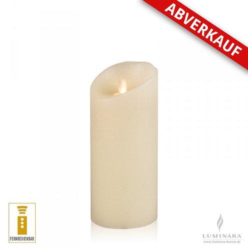 Luminara LED Kerze Echtwachs 8x17 cm elfenbein fernbedienbar Struktur - AKTION