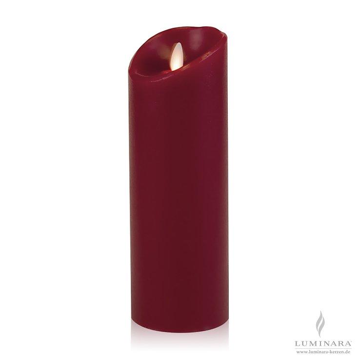 Luminara LED Kerze Echtwachs 8x23 cm bordeaux glatt AKTION - Pic 1