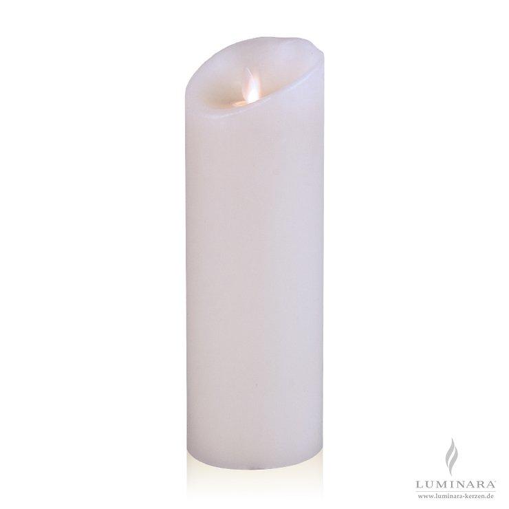 Luminara LED Kerze Echtwachs 8x23 cm weiß glatt AKTION - Pic 1