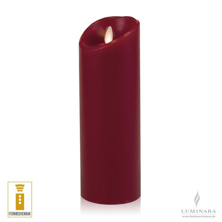 Luminara LED Kerze Echtwachs 8x23 cm bordeaux fernbedienbar glatt AKTION - Pic 1