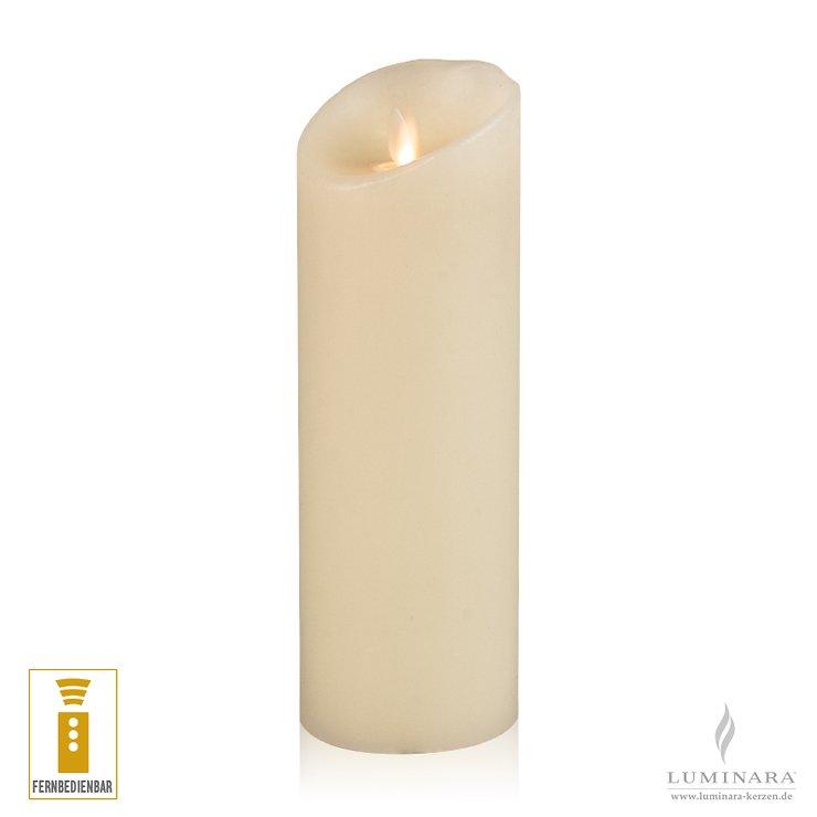Luminara LED Kerze Echtwachs 8x23 cm elfenbein fernbedienbar glatt NEU - Pic 1