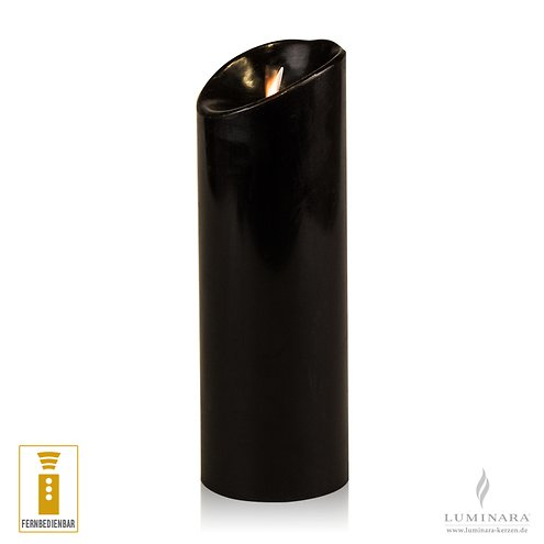 Luminara LED Kerze Echtwachs 8x23 cm schwarz fernbedienbar glatt AKTION