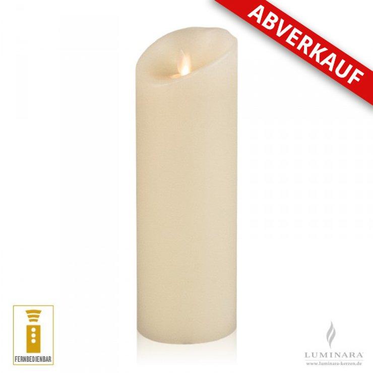 Luminara LED Kerze Echtwachs 8x23 cm elfenbein fernbedienbar Struktur AKTION - Pic 1