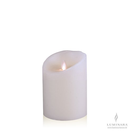 Luminara LED Kerze Echtwachs 10x14 cm weiß fernbedienbar glatt