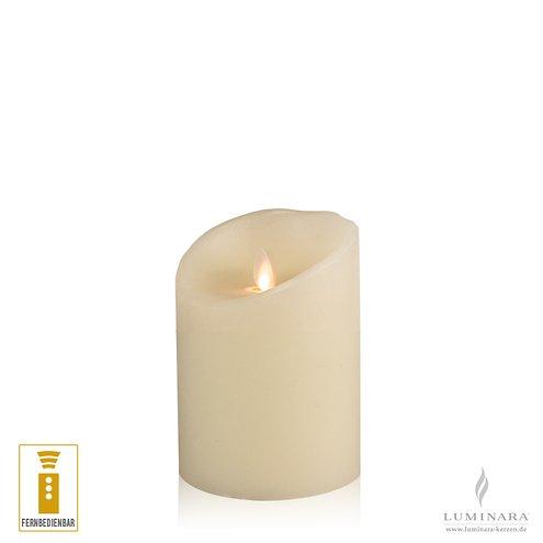 Luminara LED Kerze Echtwachs 10x13 cm elfenbein fernbedienbar