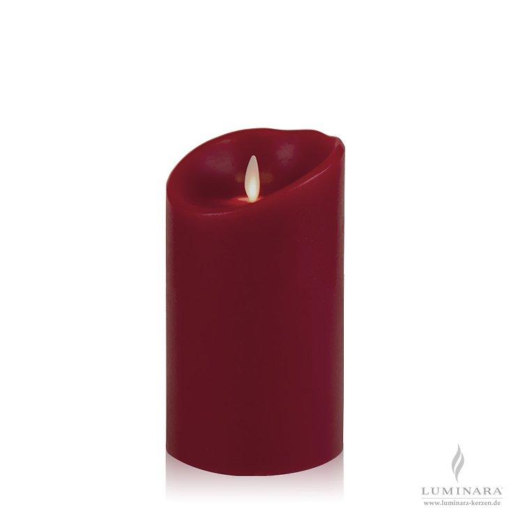 Luminara LED Kerze Echtwachs 10x18 cm bordeaux glatt AKTION - Pic 1