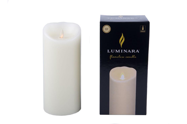 Luminara LED Kerze Echtwachs 10x23 cm weiß fernbedienbar glatt - Pic 2