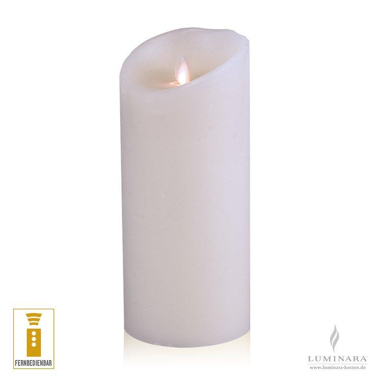 Luminara LED Kerze Echtwachs 10x23 cm weiß fernbedienbar glatt - Pic 1