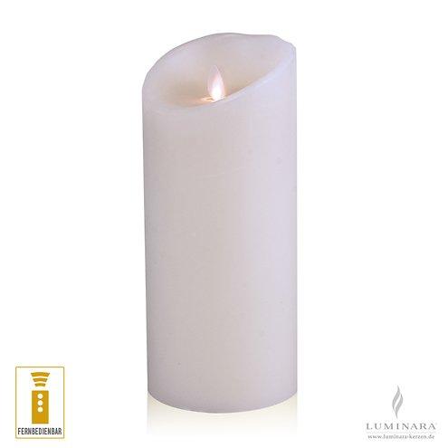 Luminara LED Kerze Echtwachs 10x23 cm weiß fernbedienbar glatt