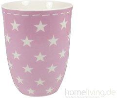 Mea Living Kaffeebecher Keramik 500 ml Sterne rosa