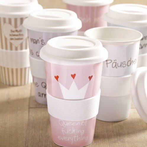 mea living coffee to go becher porzellan 400 ml queen of kaufen. Black Bedroom Furniture Sets. Home Design Ideas