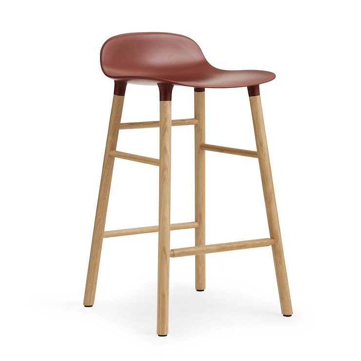 Normann copenhagen barhocker form 65 cm eiche rot kaufen for Barhocker 65