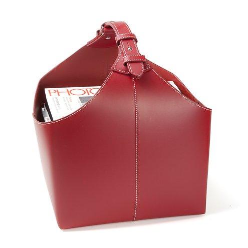 Orskov Zeitschriftenkorb Leder 34 x 17 x 31 cm rot