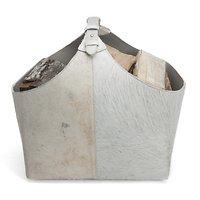 Orskov Holzkorb Leder 45 x 34 x 52 cm Kuhfell beige