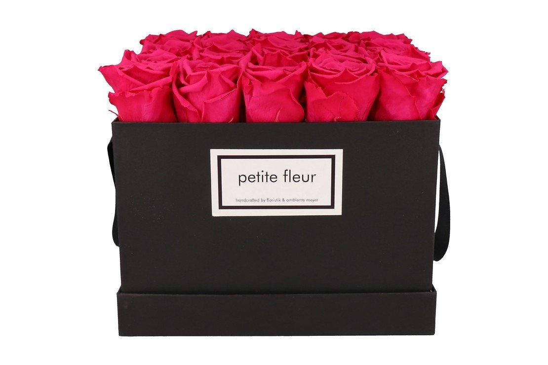 Petite Fleur Flowerbox Infinity Rosen L quadratisch in Dunkel Pink mit 20-25 Rosen - Pic 1