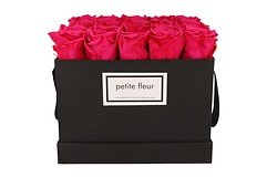 Petite Fleur Flowerbox Infinity Rosen L quadratisch in Dunkel Pink mit 20-25 Rosen