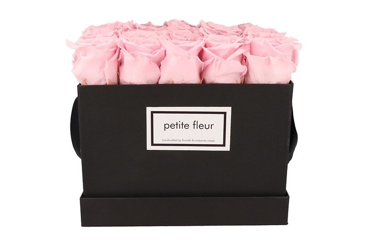 Petite Fleur Flowerbox Infinity Rosen L quadratisch in Rosa mit 20-25 Rosen