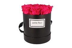 Petite Fleur Flowerbox Infinity Rosen M rund in Dunkel Pink mit 9-10 Rosen