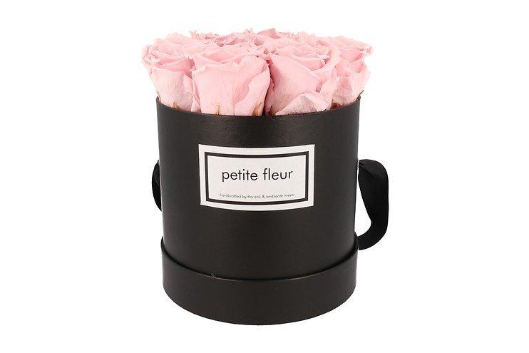 Petite Fleur Flowerbox Infinity Rosen M rund in Rosa mit 9-10 Rosen