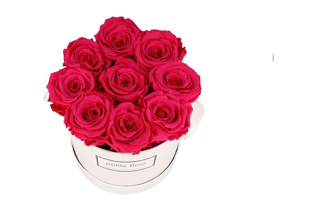 Petite Fleur Flowerbox Infinity Rosen M rund in Dunkel Pink mit 9-10 Rosen - Pic 2