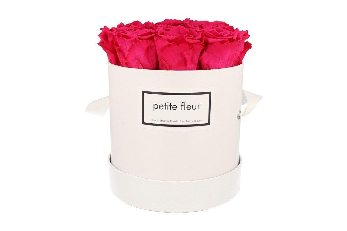 Petite Fleur Flowerbox Infinity Rosen M rund in Dunkel Pink mit 9-10 Rosen - Pic 1