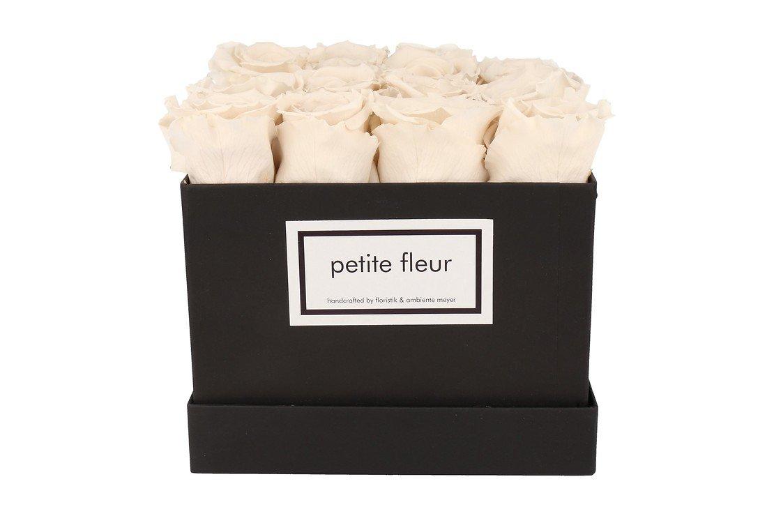 Petite Fleur Flowerbox Infinity Rosen M quadratisch in Ivory mit 10-12 Rosen - Pic 1