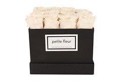 Petite Fleur Flowerbox Infinity Rosen M quadratisch in Ivory mit 10-12 Rosen