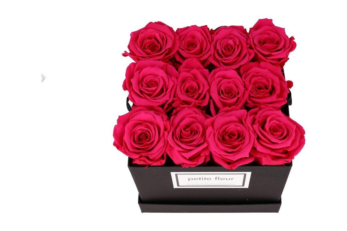 Petite Fleur Flowerbox Infinity Rosen M quadratisch in Dunkel Pink mit 10-12 Rosen - Pic 2