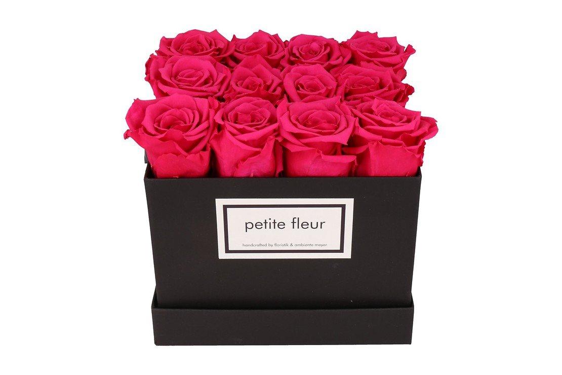 Petite Fleur Flowerbox Infinity Rosen M quadratisch in Dunkel Pink mit 10-12 Rosen - Pic 3