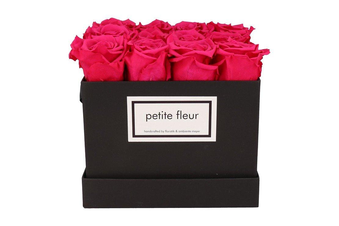 Petite Fleur Flowerbox Infinity Rosen M quadratisch in Dunkel Pink mit 10-12 Rosen - Pic 1