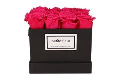 Petite Fleur Flowerbox Infinity Rosen M quadratisch in Dunkel Pink mit 10-12 Rosen