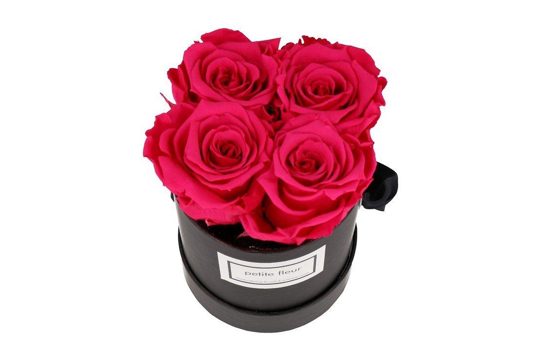 Petite Fleur Flowerbox Infinity Rosen S rund in Dunkel Pink mit 4 Rosen - Pic 2