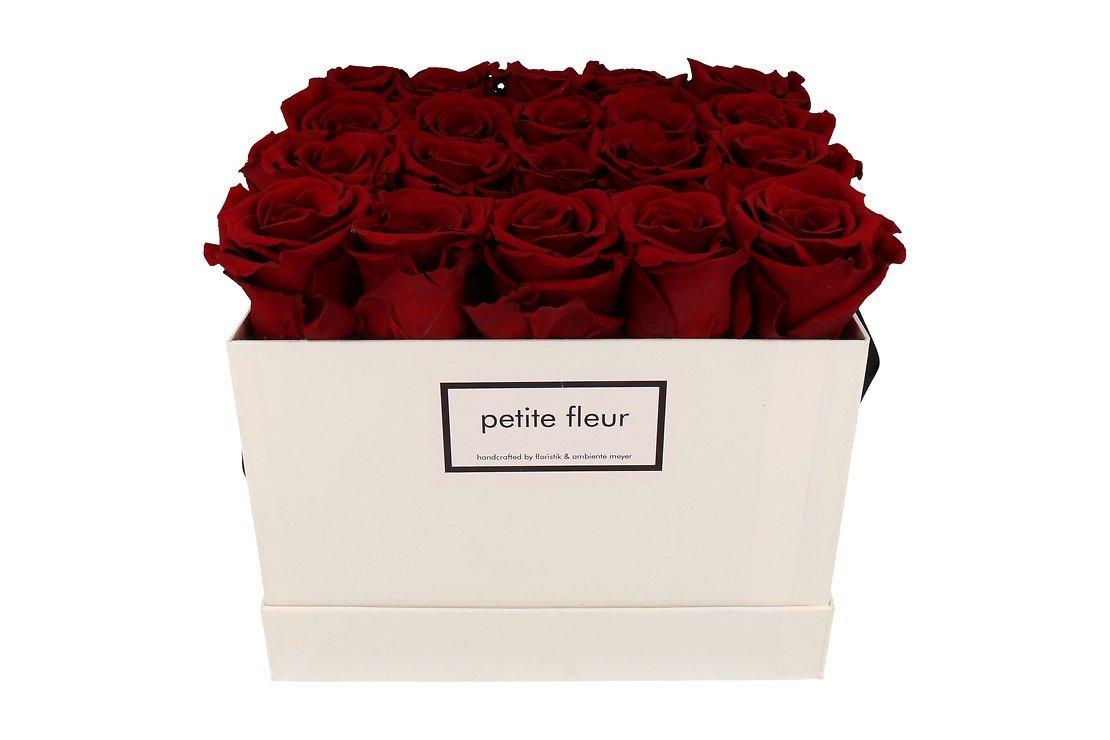 Petite Fleur Flowerbox Infinity Rosen L quadratisch in Dunkelrot mit 20-25 Rosen - Pic 1