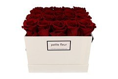 Petite Fleur Flowerbox Infinity Rosen L quadratisch in Dunkelrot mit 20-25 Rosen