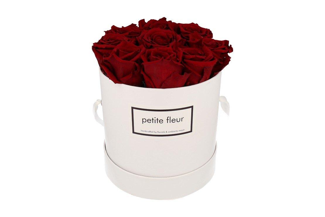 Petite Fleur Flowerbox Infinity Rosen M rund in Dunkelrot mit 9-10 Rosen - Pic 1