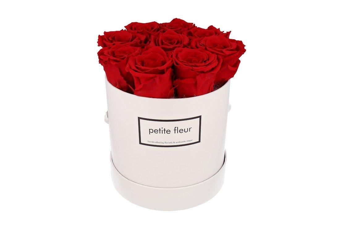 Petite Fleur Flowerbox Infinity Rosen M rund in Rot mit 9-10 Rosen - Pic 1