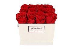 Petite Fleur Flowerbox Infinity Rosen M quadratisch in Rot mit 10-12 Rosen