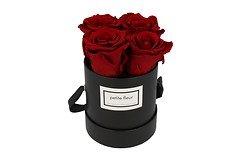 Petite Fleur Flowerbox Infinity Rosen S rund in Dunkelrot mit 4 Rosen