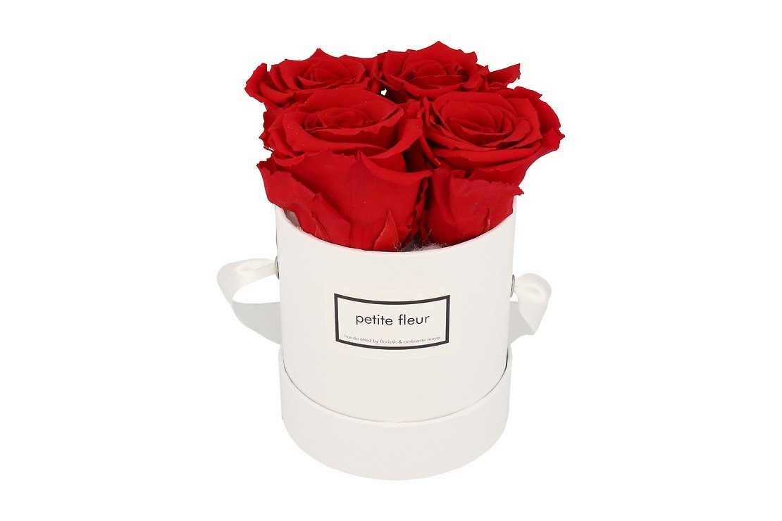 Petite Fleur Flowerbox Infinity Rosen S rund in Rot mit 4 Rosen - Pic 1