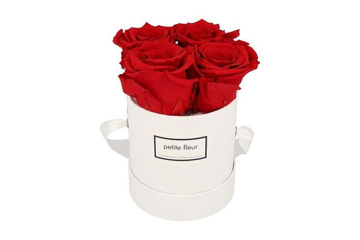 Petite Fleur Flowerbox Infinity Rosen S rund in Rot mit 4 Rosen