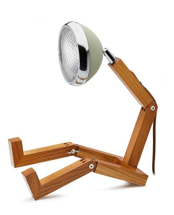 Mr. Wattson LED Tischlampe Holz Metall grün - Pic 1
