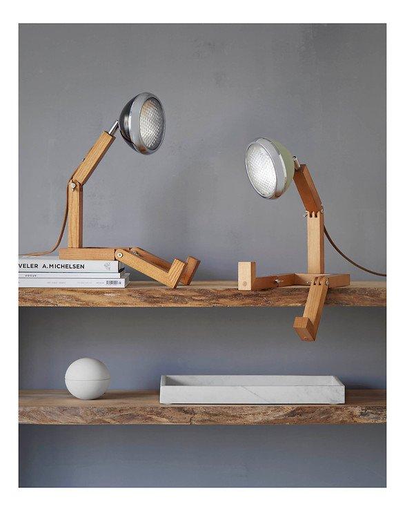 Mr. Wattson LED Tischlampe Holz Metall grün - Pic 3