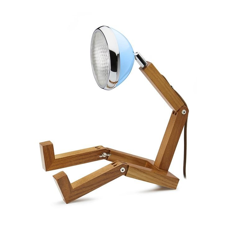 Mr. Wattson LED Tischlampe Holz Metall blau - Pic 1