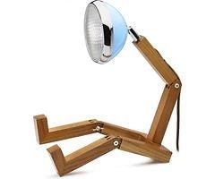Mr. Wattson LED Tischlampe Holz Metall blau