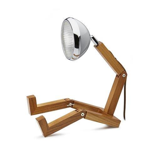 Mr. Wattson LED Tischlampe Holz Metall grau